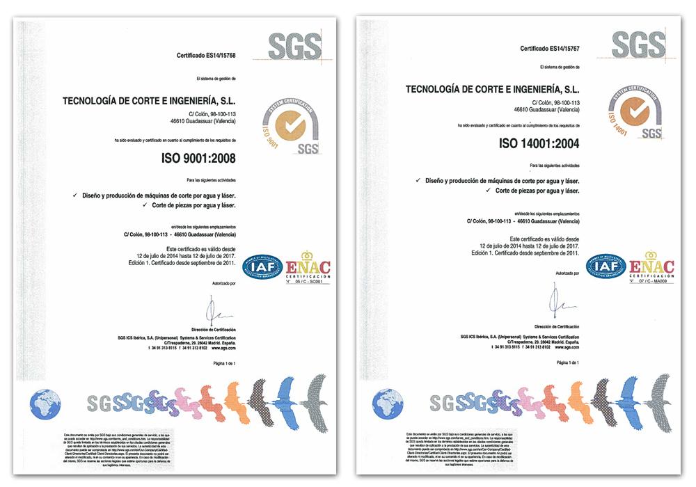 Calidad waterjet y corte laser. Certificados de calidad ISO 9001 y ISO 14001