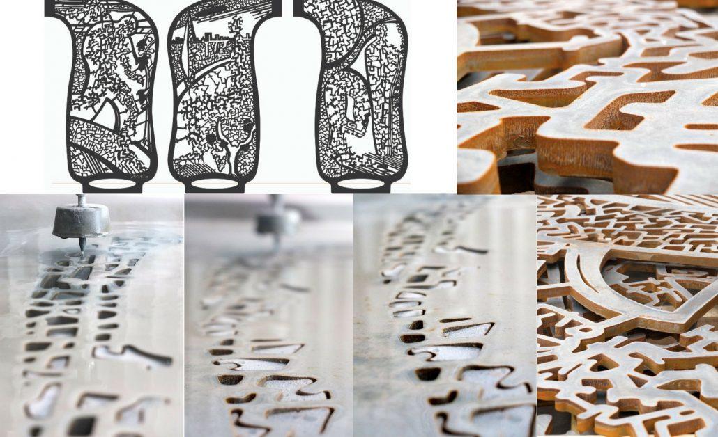 Foto montaje ACTIU escultura metal con corte waterjet chorro de agua presion